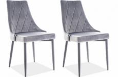 lot de 2 chaises trianon en tissu velours de qualité, couleur gris