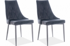 lot de 2 chaises trianon en tissu velours de qualité, couleur noir