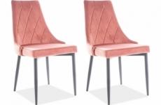 lot de 2 chaises trianon en tissu velours de qualité, couleur rose ancien