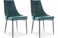 lot de 2 chaises trianon en tissu velours de qualité, couleur verte