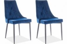 lot de 2 chaises trianon en tissu velours de qualité, couleur bleue