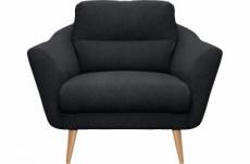 fauteuil en tissu luxe 1 place, trendy noir (gris très sombre)