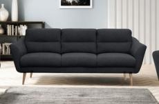 canapé en tissu luxe 3 places, trendy noir (gris très sombre)