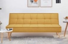 canapé 2 places en tissu de qualité ural, jaune moutarde