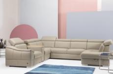 canapé d'angle en 100% tout cuir italien de luxe 7/8 places, convertible avec relax électrique et coffre, urbania, beige, angle gauche