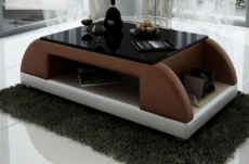 table basse design valina, chocolat et blanc
