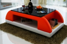 table basse design valina, rouge et blanc