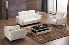 2eme paiement de la commande; ensemble canapés 3 places + 2 places + fauteuil,  en cuir italien buffle valoria, blanc, 6x sans frais, total de la commande: 2186 euros