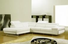 canapé d'angle en cuir italien 5/6 places varga, ivoire