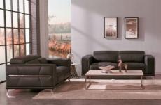 ensemble canapé 3 places et 2 places en cuir italien buffle vega, chocolat avec surpiqure blanche