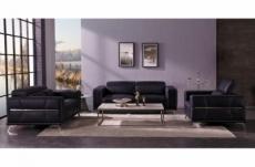 ensemble canapé 3 places et 2 places et fauteuil 1 place en cuir italien buffle vega, noir avec surpiqure blanche