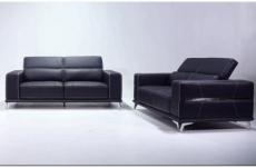 ensemble canapé 3 places et 2 places en cuir italien buffle vega, noir avec surpiqure blanche