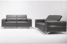 ensemble canapé 3 places et 2 places en cuir italien buffle vega, gris foncé avec surpiqure blanche