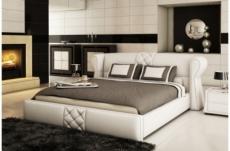 lit design en cuir italien de luxe vegas, blanc