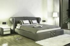 lit design en cuir italien de luxe vegas, gris foncé