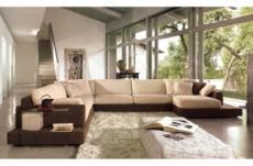 canapé d'angle loft en tissu haut de gamme, beige et chocolat, angle gauche