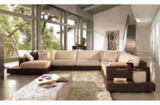 canapé d'angle loft en tissu haut de gamme, coloris beige et chocolat, angle droit