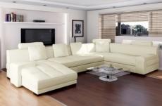 canapé d'angle en 100% tout cuir italien 8 places, venesia, écru, angle droit