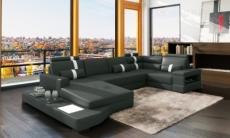 canapé d'angle en cuir italien 8 places venise, gris foncé / blanc.