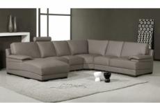 canapé d'angle en cuir italien 6/7 places mister, gris clair