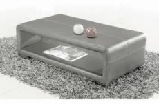 table basse en cuir italien vera, gris clair