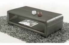 table basse en cuir italien vera, gris foncé