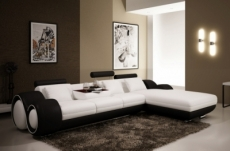 canapé d'angle en cuir italien 5 places , verdi, blanc et noir