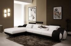 canapé d'angle en cuir italien 5 places, verdi, blanc et noir