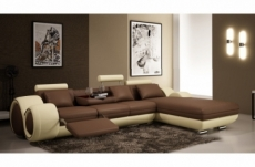 canapé d'angle en cuir italien 5 places , verdi, chocolat et écru, angle droit