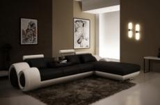 canapé d'angle en cuir italien 5 places , verdi, noir et blanc