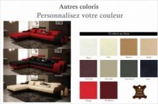 canapé d'angle en cuir italien 5 places , verdi, couleur personnalisée