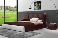 lit design en cuir italien de luxe verdi, chocolat et blanc.