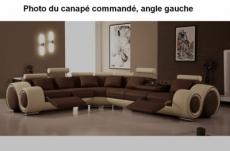 canapé d'angle petit verona en cuir haut de gamme italien casanoti, chocolat et beige, angle gauche vu de face