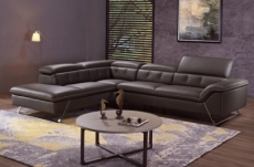 canapé d'angle en cuir de buffle italien de luxe 5/6 places vida, chocolat, angle gauche