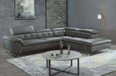 canapé d'angle en cuir de buffle italien de luxe 5/6 places, vida, gris foncé, angle droit