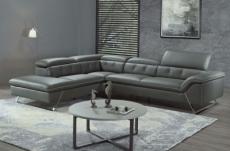 canapé d'angle en cuir de buffle italien de luxe 5/6 places vida, gris foncé, angle gauche