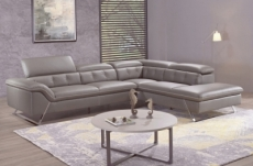 canapé d'angle en cuir de buffle italien de luxe 5/6 places, vida, moka, angle droit