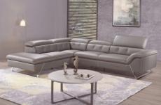 canapé d'angle en cuir de buffle italien de luxe 5/6 places vida, moka, angle gauche