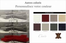 canapé d'angle en cuir de buffle italien de luxe 5/6 places vida, couleur personnalisée, angle gauche