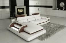canapé d'angle en cuir italien 6 places vinoti, blanc et chocolat, angle gauche