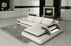 canapé d'angle en cuir italien 6 places vinoti, blanc et chocolat, angle droit