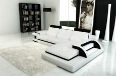 canapé d'angle en cuir italien 6 places vinoti, blanc et noir