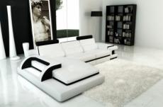 canapé d'angle 6 places ibiza, blanc et noir, angle gauche
