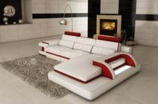 canapé d'angle en cuir italien 6 places vinoti, blanc et rouge