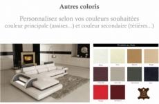 canapé d'angle en cuir italien 6 places vinoti, couleurs personnalisées