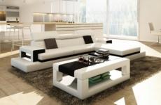 canapé d'angle en cuir italien 5 places wagram, blanc et noir
