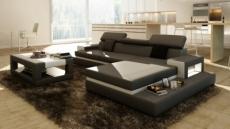canapé d'angle en cuir italien 5 places wagram, gris foncé et blanc