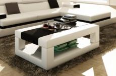 table basse en cuir italien wagram, blanc et noir