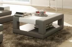 table basse en cuir italien wagram, gris clair et blanc