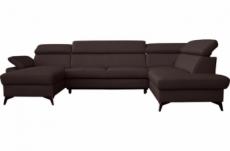 canapé d'angle convertible en cuir italien de luxe 7/8 places warini avec coffre, chocolat, angle droit